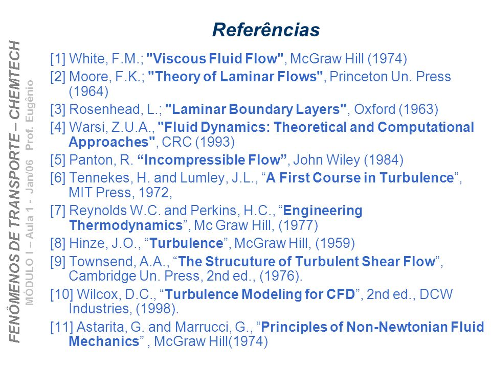 Referências [1] White, F.M.; Viscous Fluid Flow , McGraw Hill (1974)
